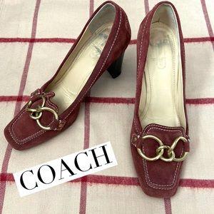 Coach Plum Kyrstle Suede heels size 7.5